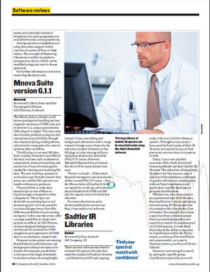 Mnova Reviewed at Chemistry World October 2010